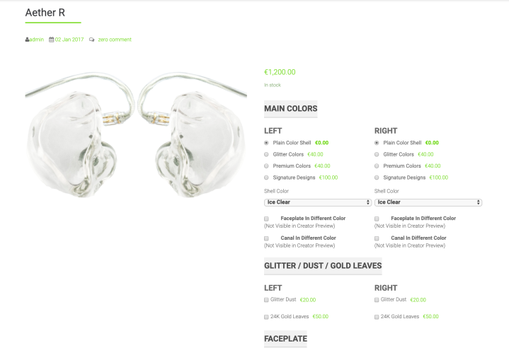 Lime Ears Customization Page
